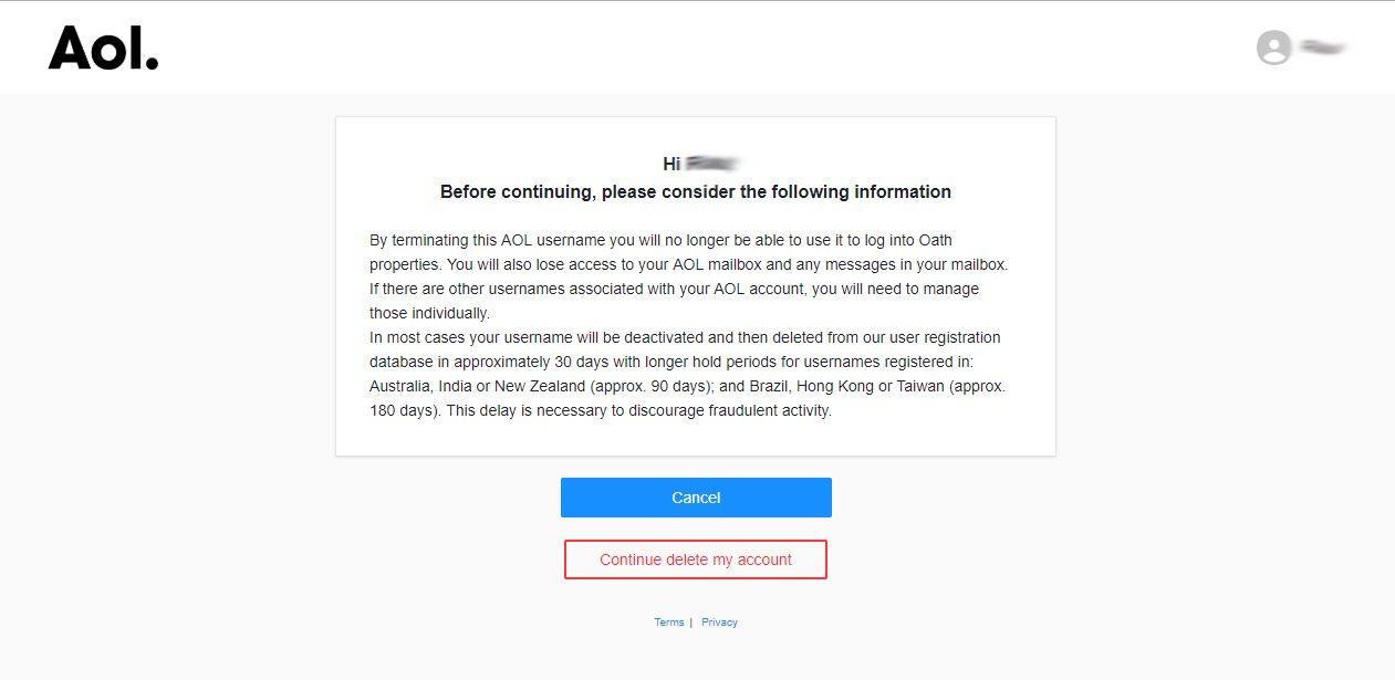 eliminar cuenta AOL