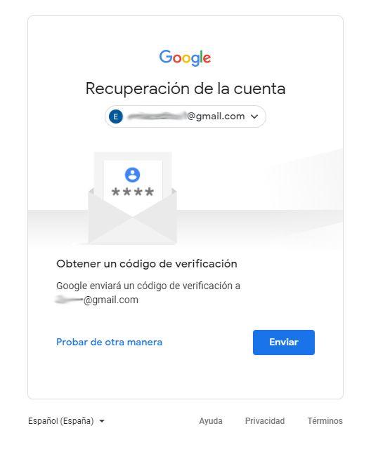 opciones de recuperacion contraseña gmail