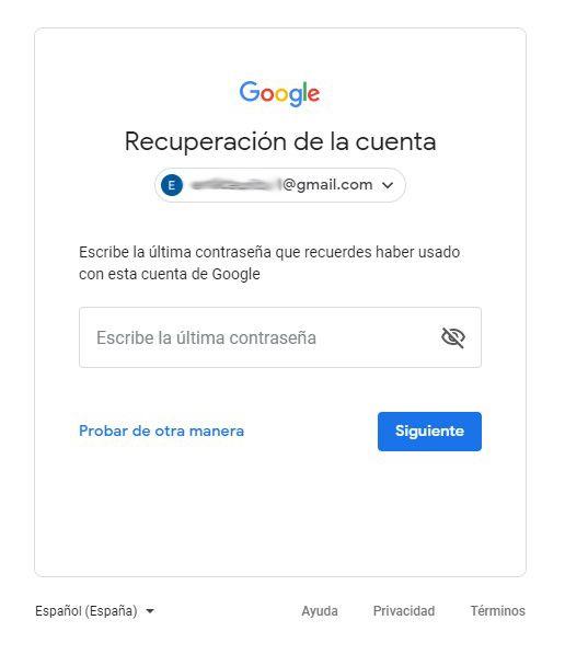 recuperacion contraseña gmail