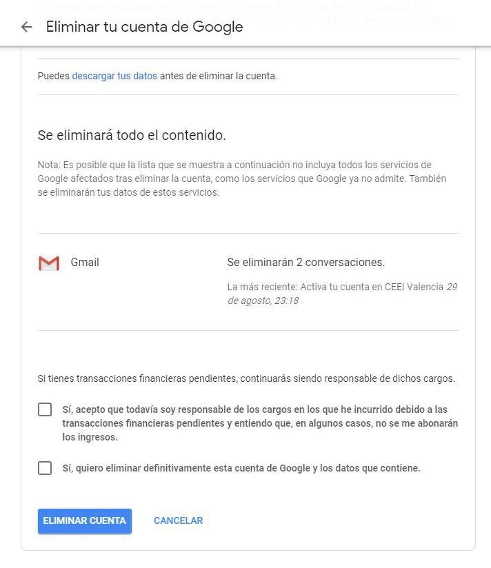 confirmar eliminacion cuenta google