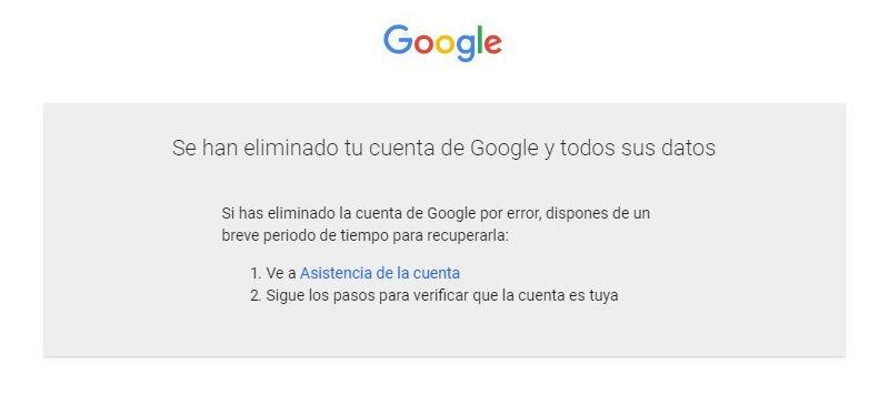 eliminacion cuenta gmail